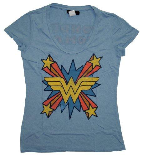 Wonder Woman The Skipper Logo Scoop Neck Mystic Blue Juniors T-shirt (Juniors - Stores Juniors Online