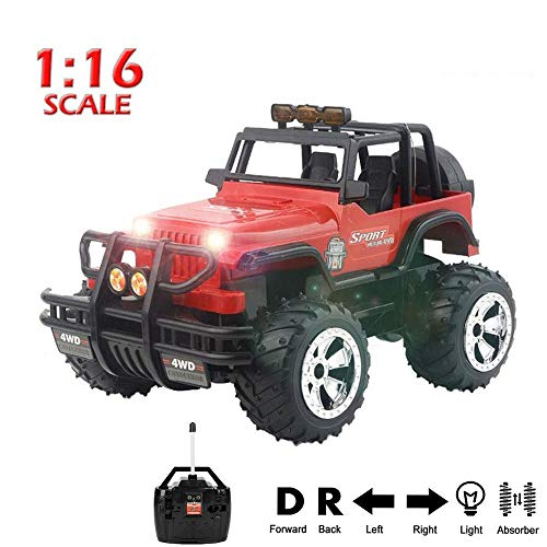 1:16 Scale Radio Remote Control 4WD Rock Crawler Vehicle 2.4 GHz R/C Monster Truck Toy Radio Control RTR Electric Vehicle Off-Road Race Car for Boys Girls (Truck Monster Sound)