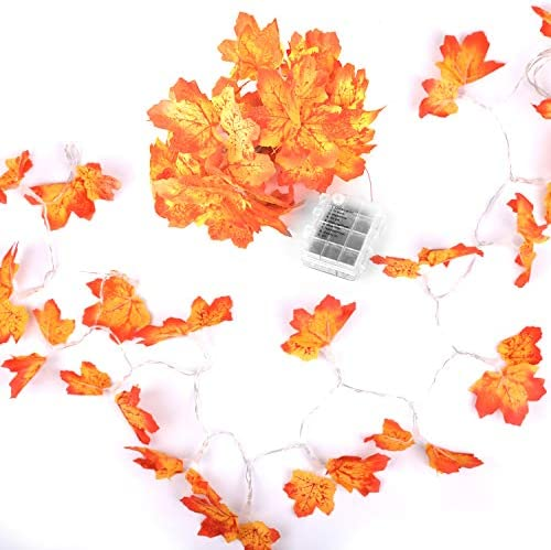 Fall Decorations 2 Pack 60 LED Maple Leaf Lighted Garland Thanksgiving Decorations Waterproof Battery Powered Autumn String Lights for Indoor Outdoor Decor