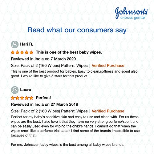 Johnson's Baby Wipes With Lid Combo Offer Pack, 2 x 80s (160 wipes)