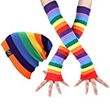 BAOBAO Women Winter Outdoor HipHop Stripe Crochet Hat Leg Arm Warmers Knee High Socks