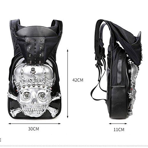 Hombre 3D con tachuelas de cabeza de cráneo PU mochila con el sombrero Casual Bag Bolsa de viaje Mochila Viajes Mochilas Camping , black , 42*30*11cm black