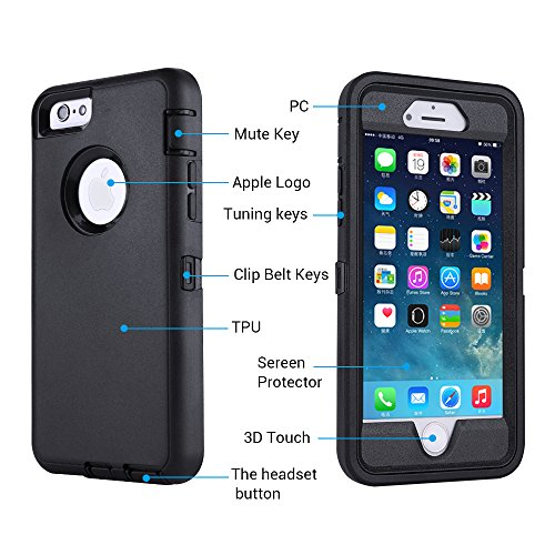 smartelf Case for iPhone 6 Plus/6s Plus With Built-in Screen Protector Heavy Duty Shockproof Dust Drop Protection Protective Cover for Apple iPhone 6+/6s+ 5.5 inch-Black