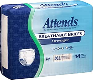 Attends Incontinence Care Breathable Briefs for Adults, Overnight, XL, 14 Count (Pack of 2)