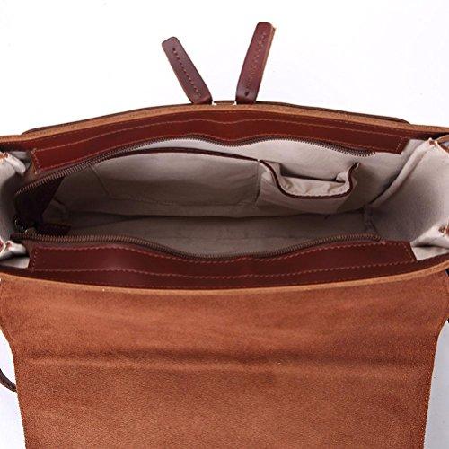 GTUKO Genuino De Los brown Negocios De Bolsa Hombres Brown Bolso Red Red Cuero Retro De raIrt