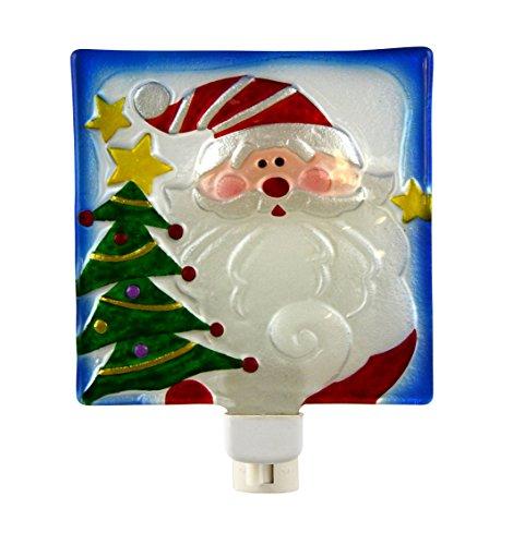 Santa Claus Wall (Santa Claus Christmas Tree 5 x 6 Inch Glass Wall Plug-In Holiday Night Light)