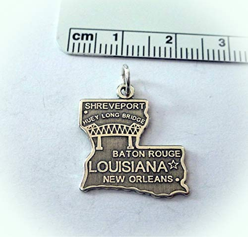 Sterling Silver 22x20mm Louisiana State Baton Rouge New Orleans Shreveport Charm Vintage Crafting Pendant Jewelry Making Supplies - DIY for Necklace Bracelet Accessories by CharmingSS ()