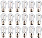 Newhouse Lighting S14LED18 Outdoor Weatherproof Shatterproof 2W S14 Vintage LED Filament Replacement String Light Bulbs Standard Base, 18-Pack, Dimmable, Clear
