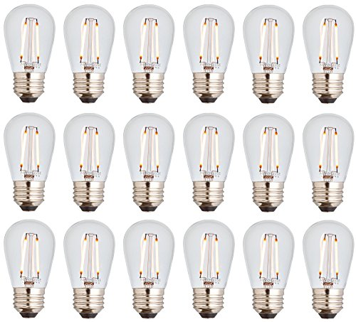 (Newhouse Lighting S14LED18 Outdoor 2W S14 Vintage LED Filament Replacement String Light Bulbs Standard Base, 18-Pack, Dimmable, Clear)