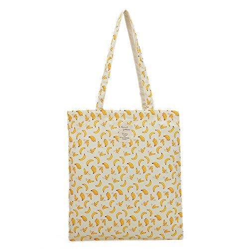 Women's Canvas Tote Shoulder Bag Stylish Shopping Casual Bag Foldaway Travel Bag (B-No closure-Banana) by Gorlos