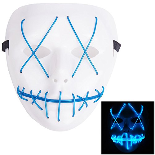 Masks Scary Halloween (Scary Mask Halloween Cosplay Led Costume Mask El Wire Light Up Mask for Festival Parties Blue)