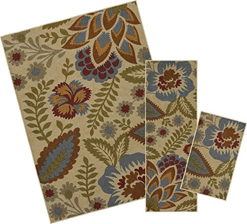 Mohawk Home Soho Crewel Floral Spice Printed Area Rug Set, Set Contains: 1'6x2'6, 1'8x5' and 5'x7'