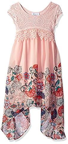 Bonnie Jean Big Girls' Short Sleeve Border Print Floral Chiffon Dress, Pink, 7 - Girls Pink Floral Denim