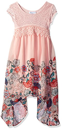 Bonnie Jean Big Girls' Short Sleeve Border Print Floral Chiffon Dress, Pink, 12 (Bodice Border Print Dress)