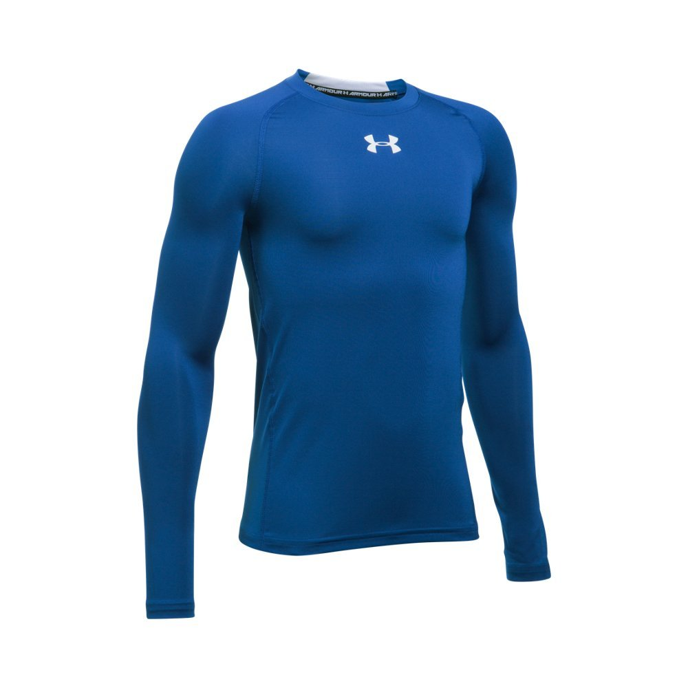 Under Armour Boys' HeatGear Armour Long Sleeve Fitted Shirt, Royal /White, Youth Small