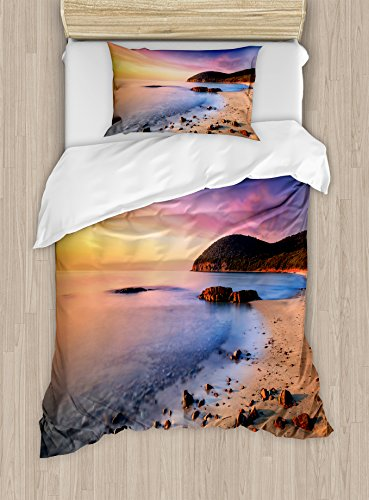 Ambesonne Beach Duvet Cover Set Twin Size, Famous Mediterranean Sun Rise on The Beach with Pebbles Tourism Serene View Print, Decorative 2 Piece Bedding Set with 1 Pillow Sham, Multicolor