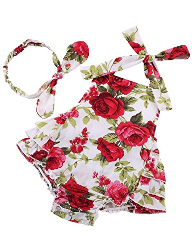 Fubin Baby Girl's Floral Print Ruffles Romper Summer Clothes With Headband,Red Rose,13-24 months