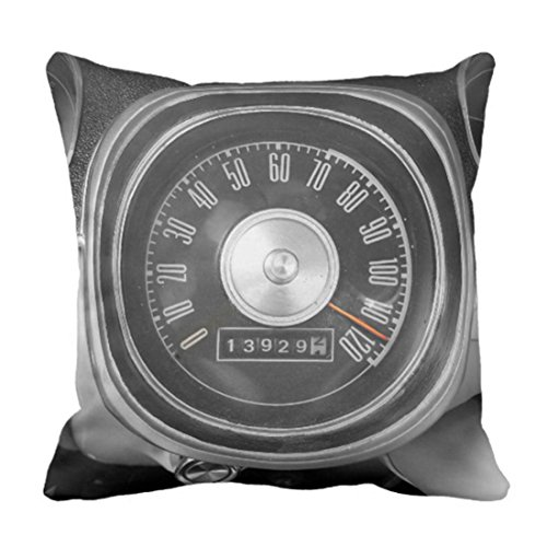 (Emvency Throw Pillow Cover Vintage 1967 Muscle Car Speedometer Black Mph Decorative Pillow Case Home Decor Square 18 x 18 Inch Pillowcase)