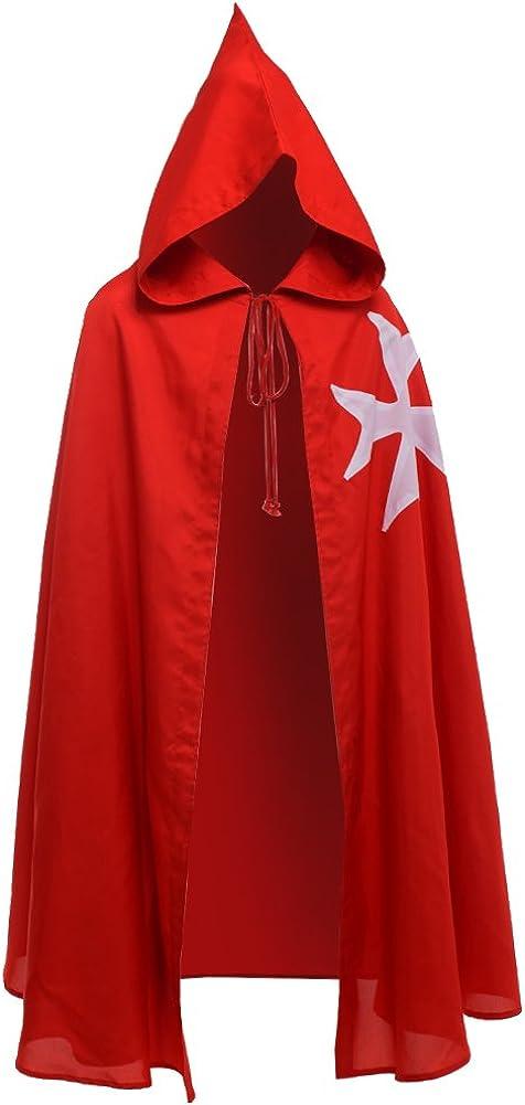BLESSUME Medieval Templar Knight Cloak Hospitaller Hooded Robe Halloween Costume Cape