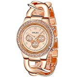 ANLEOWATCH 1PCS Quartz Watches Ladies Watch Full Steel Women Dress Diamante Wristwatches Rose Gold