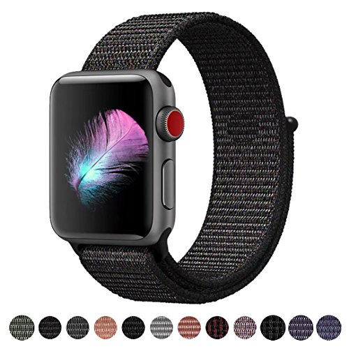 Mens Watch Black Band - Yunsea For Apple Watch Band, New Nylon Sport Loop, with Hook and Loop Fastener, Adjustable Closure Wrist Strap Replacement Band for iwatch, 42mm, Black (Pinkish Weave Color in)