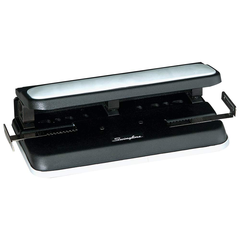 Swingline 2-7 Hole Punch, Adjustable, Heavy Duty Hole Puncher, Easy Touch, 32 Sheet Punch Capacity, Black/Gray (74300)