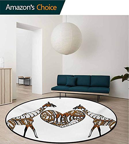 African Non-Slip Area Rug Pad Round,Soul Mate Giraffes with A Giant Heart Valentines Love in Nature Bohemian Print Protect Floors While Securing Rug Making Vacuuming,Diameter-39 Inch ()