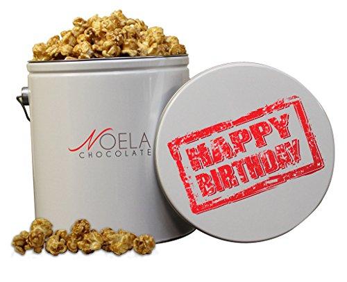 Noela Chocolate Gourmet Popcorn 1 Gallon tin Caramel Happy Birthday Stamp