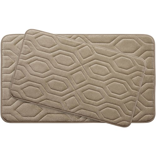 Bounce Comfort Extra Thick Memory Foam Bath Mat Set - Turtle Shell Premium Plush 2 Piece Set with BounceComfort Technology, 20 x 32 in. Linen -  Creative Home Ideas, YMB003759