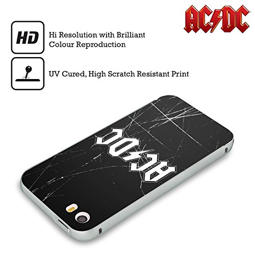 Officiel AC/DC ACDC Blanc Logo Argent Étui Coque Aluminium Bumper Slider pour Apple iPhone 5 / 5s / SE