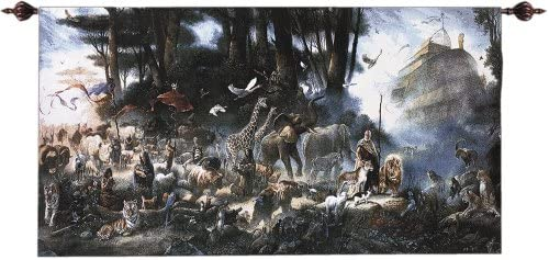 Manual Weavers The Invitation Noah s Arc and Animals Cotton Wall Art Hanging Tapestry 35 x 65