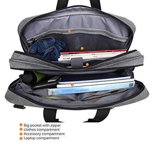 CoolBELL Convertible Messenger Bag Backpack Shoulder Bag Laptop Case Handbag Business Briefcase Multi-Functional Travel Rucksack Fits 17.3 inch Laptop for Men/Women (Grey) by CoolBELL (Image #4)