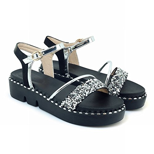 Carolbar Women's New Style Sequins Platform Buckle Casual Sandals Silver zd1Rg