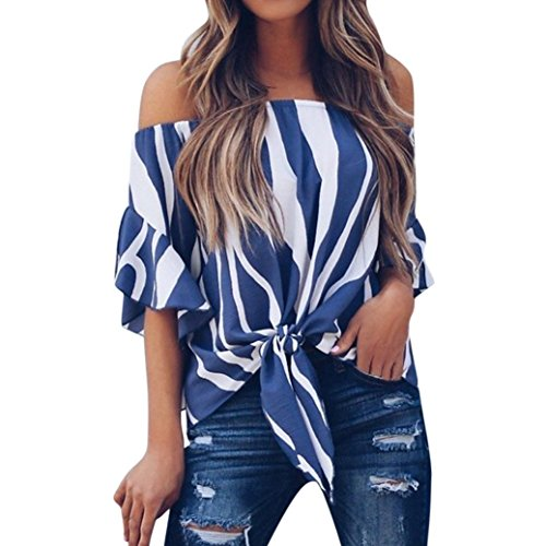 Women Striped Tops Off Shoulder T Shirts Waist Tie Blouse Short Sleeve Casual (Top Belted Halter)