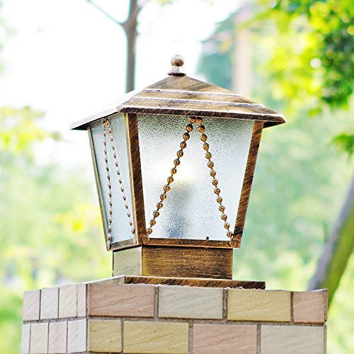 CGJDZMD Patio Pillar Lamp with Glass Shade European Vintage Outdoor Rainproof Metal Column Light Park Lawn Porch Decoration Post Lantern Traditional Balcony Pool Porch Light(E26/E27) ()