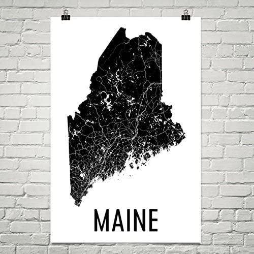 Amazon Com Maine Gifts Maine Art Maine Map Maine Decor Maine Wall Art Maine Print Maine Made Maine Poster Map Of Maine Poster 24 X36 Posters Prints