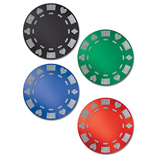 Beistle Club Pack Casino Night Glittered Foil Poker Chip Cutouts 4 Color, Box of 48 Poker Chip Cutouts