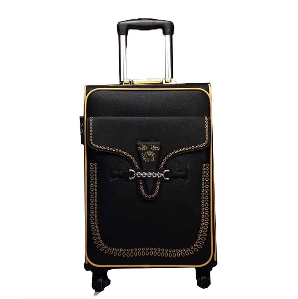 ファッション荷物、ユニバーサルホイールのパスワードスーツケース、大容量、軽くて耐久性のあるトロリーケース (色 : ブラック, サイズ : 24) B07VGT8R28 ブラック 24