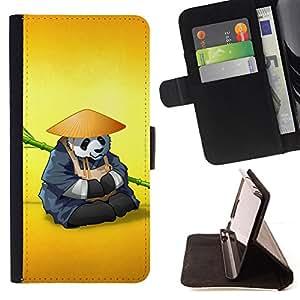 BullDog Case - FOR/Sony Xperia Z1 Compact D5503 / - / The Panda Warrior Meditating /- Monedero de cuero de la PU Llevar cubierta de la caja con el ID Credit Card Slots Flip funda de cuer