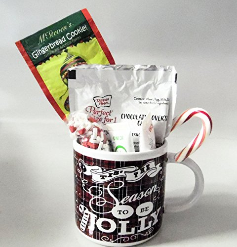 Chocolate Cake for 1 in a Christmas Holiday Mug Gift Set with Gingerbread Cocoa, Icing, Candy Decorations & a Christmas Candycane