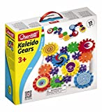 Quercetti Kaleido Gears - 55 Piece Building Set with 3 Different Sized Gears - Turn the Crank and Create a Chain Reaction!  Ages 3 + (Made in Italy)