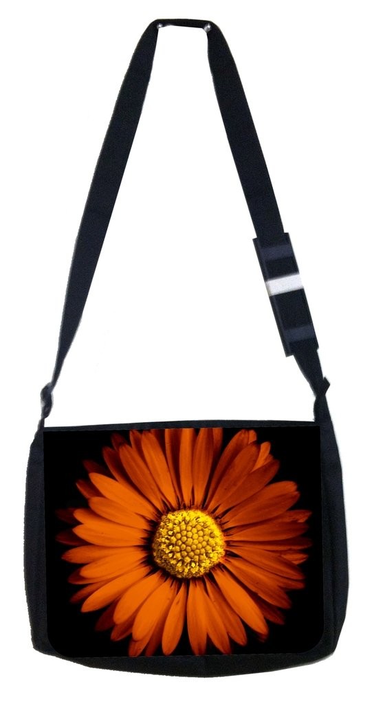 Orange daisy Rosie Parker Inc TM Medium Sized Messenger Bag 11.75 x 15.5 and 4.5 x 8.5 Pencil Case SET