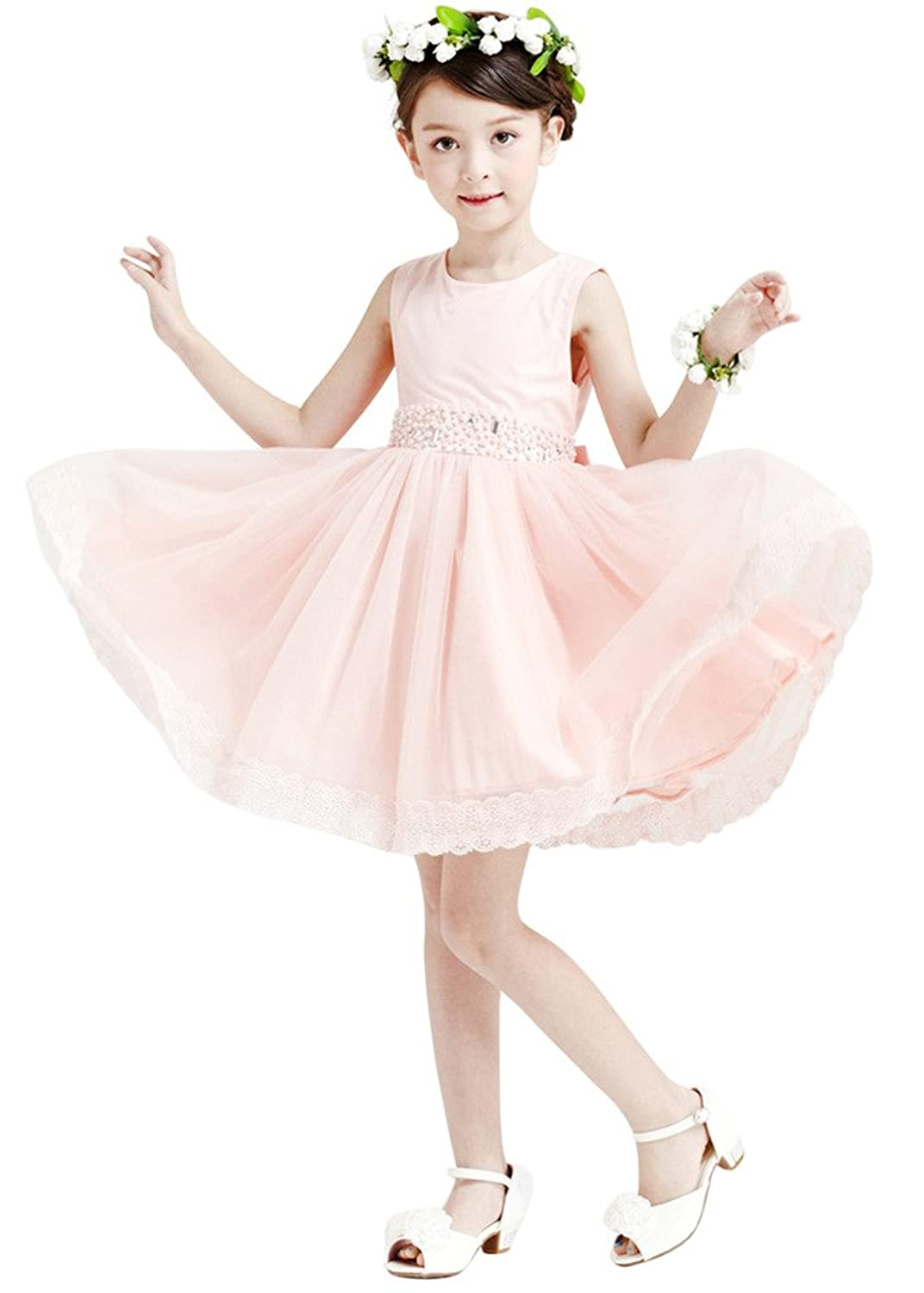 Vimans? Cute Girls Short Pink Sleeveless Chiffon Dresses with Lace and Beads