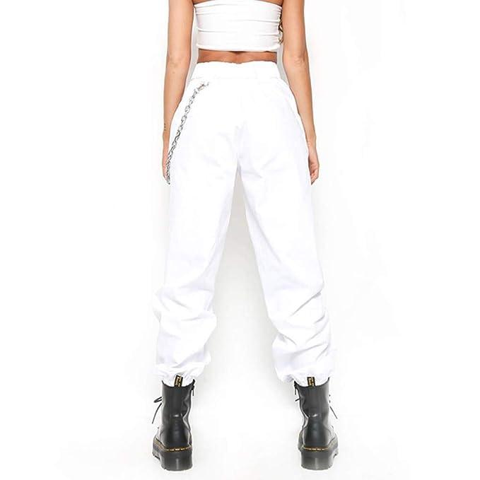 Mujeres Cadenas sólido de Alta Cintura Harem Hip Hop Sueltan los Pantalones  de Streetwear  Amazon.es  Ropa y accesorios a1be1b9f5e9