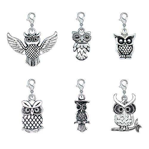 Ascrafter Zipper Pull Charms, Set of 6 Owl Stitch Markers for Knitting, Crochet Markers, Purse Charms, Jewelry Charm Pendant