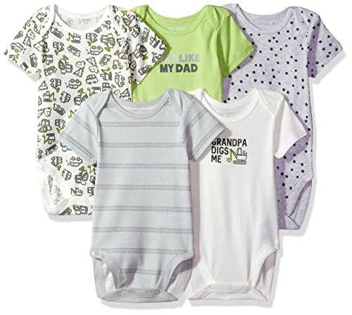 The Children's Place Baby Boys' Conversational Bodysuit (Pack of 5), Atmosphere, 6-9MONTHS