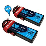 DXF 2PCS 5200mAh 7.4V 50C 2S LiPo RC Battery Pack with Hard Case Deans Plug for RC Evader BX Car Truck Truggy Buggy Tank Helicopter Airplane Car Racing