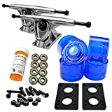 YOCAHER LONGBOARD Skateboard TRUCKS COMBO set w/ 71mm WHEELS + 9.675' Polished / Black trucks Package - Free shipping, Gel Blue Wheel, Polished Trucks