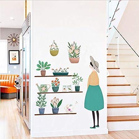 ZGQQQ Plantas Frescas Etiqueta De La Pared Etiqueta De La Decoración del Hogar DIY Art Mural De Vinilo Extraíble para Refrigerador/Habitación De Niños/Puerta Corredera: Amazon.es: Hogar