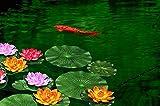 NAVAdeal 4PCS 7 Inch Artificial Floating Foam Lotus